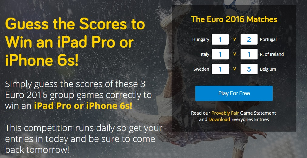 Euro 2016 predictor game by readies.co.uk
