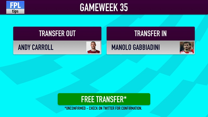 Fantasy Premier League transfer for FPL Gameweek 35