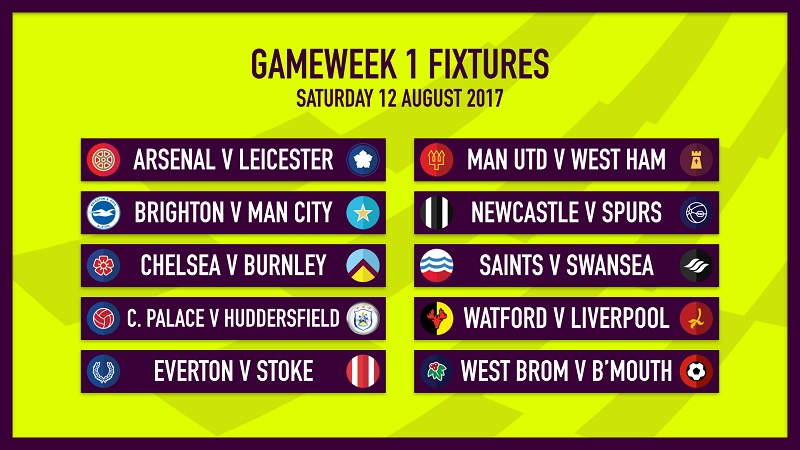 Fantasy Premier League fixtures for FPL Gameweek 1