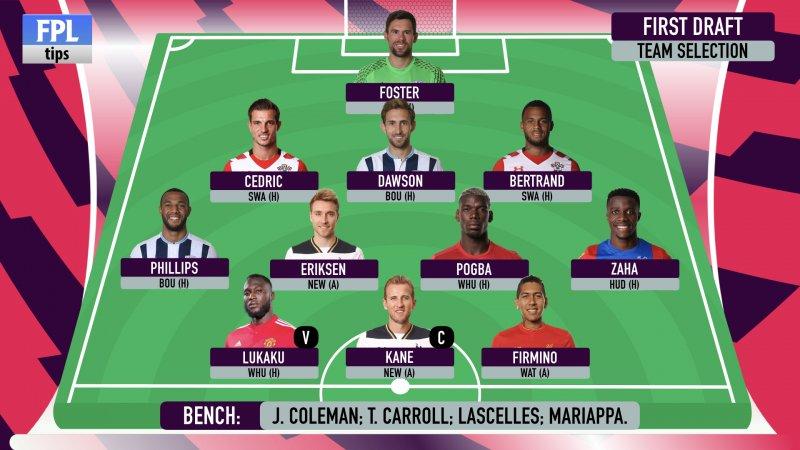 Fantasy Premier League - Gameweek 1 FPL draft team