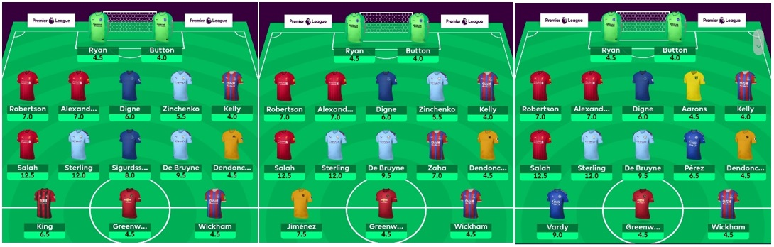 FPL Template teams - Gameweek 1 options