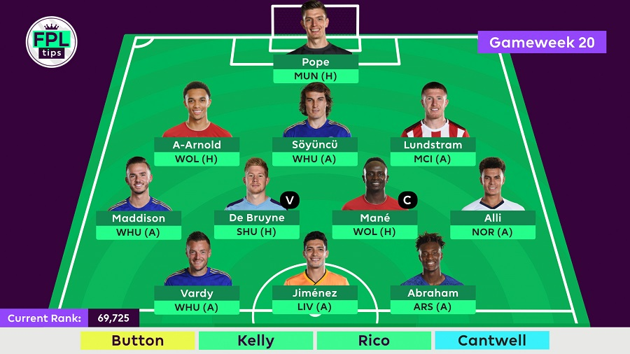 Gameweek 20 - FPLTips Final Team Selection