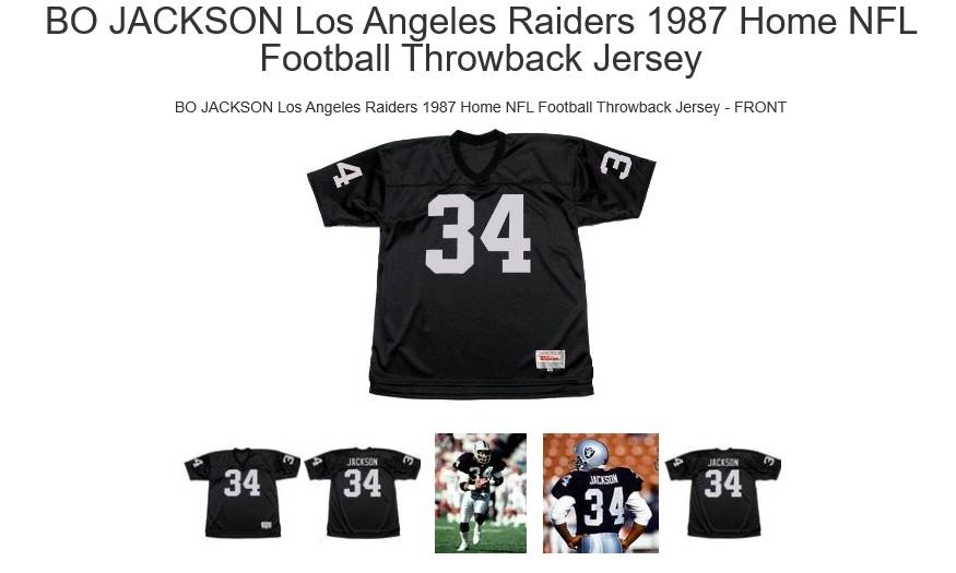 BO JACKSON Los Angeles Raiders 1987 Home NFL Football Throwback Jersey