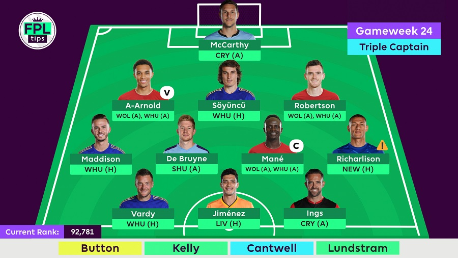 FPLTips Double Gameweek 24 lineup