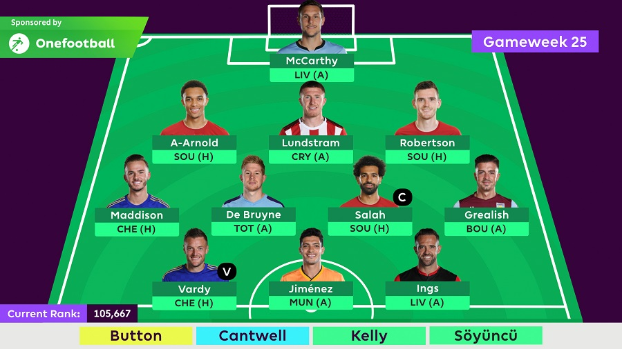 FPLTips - Gameweek 25 final team selection