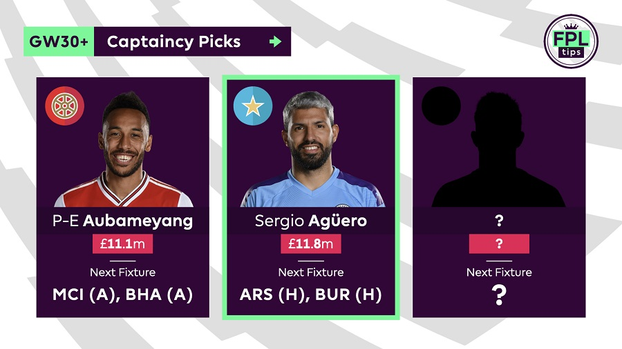 Double Gameweek 30+ Captain Picks Aguero