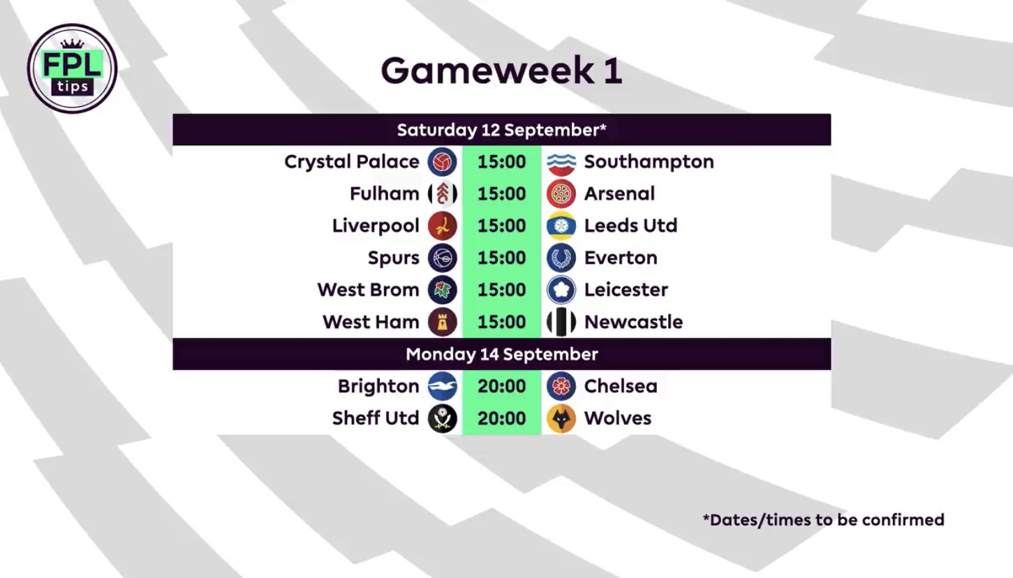 Gameweek 1 FPL fixtures