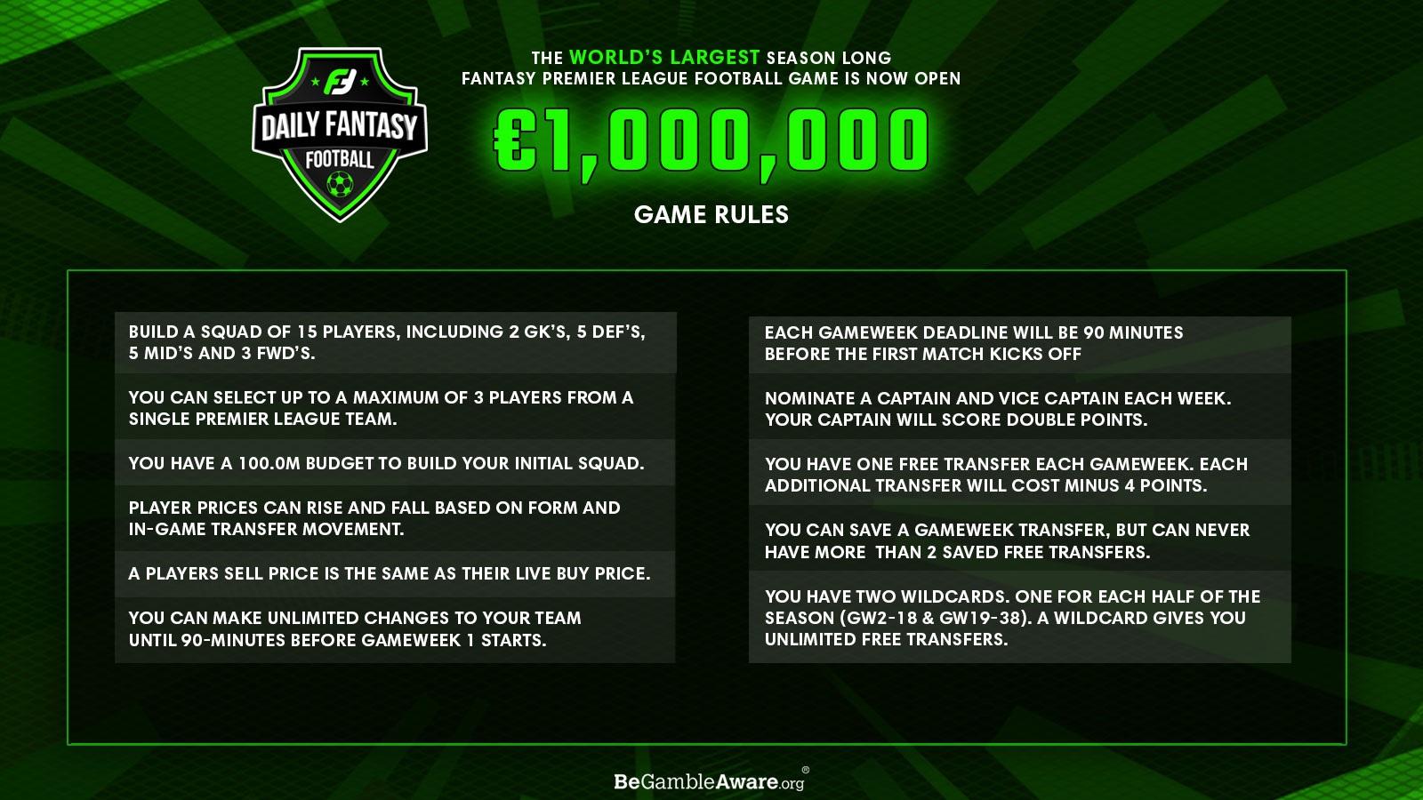 fanteam million cash league game rules