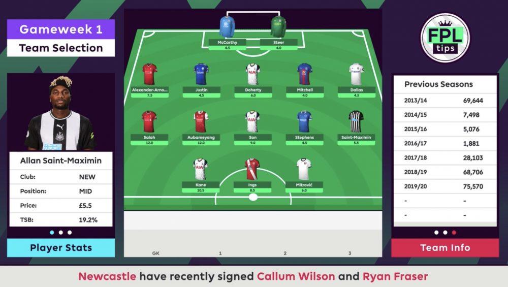 FPLTips Team - Gameweek 1 - Midfielders