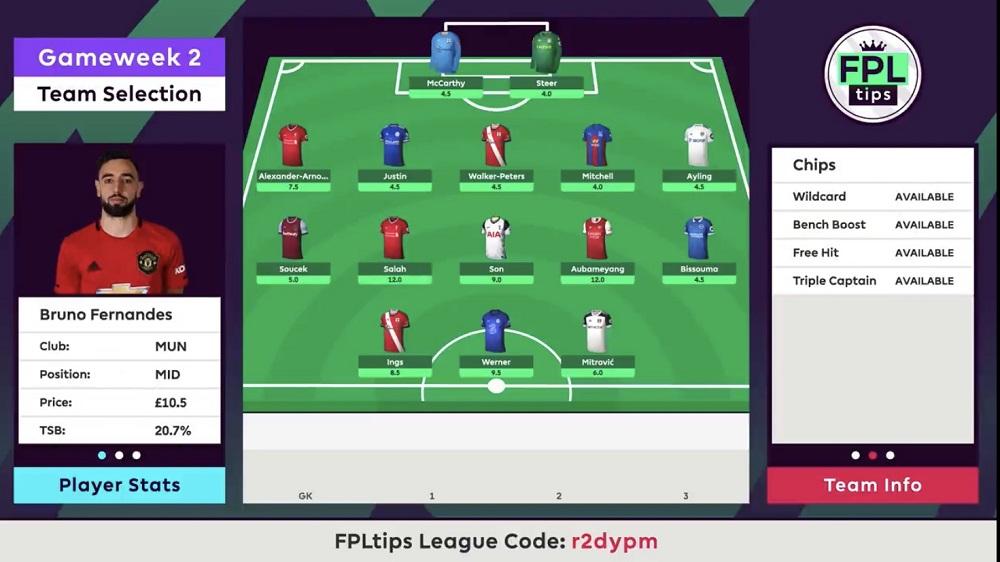 Gameweek 2 Team Selection - FPLTips