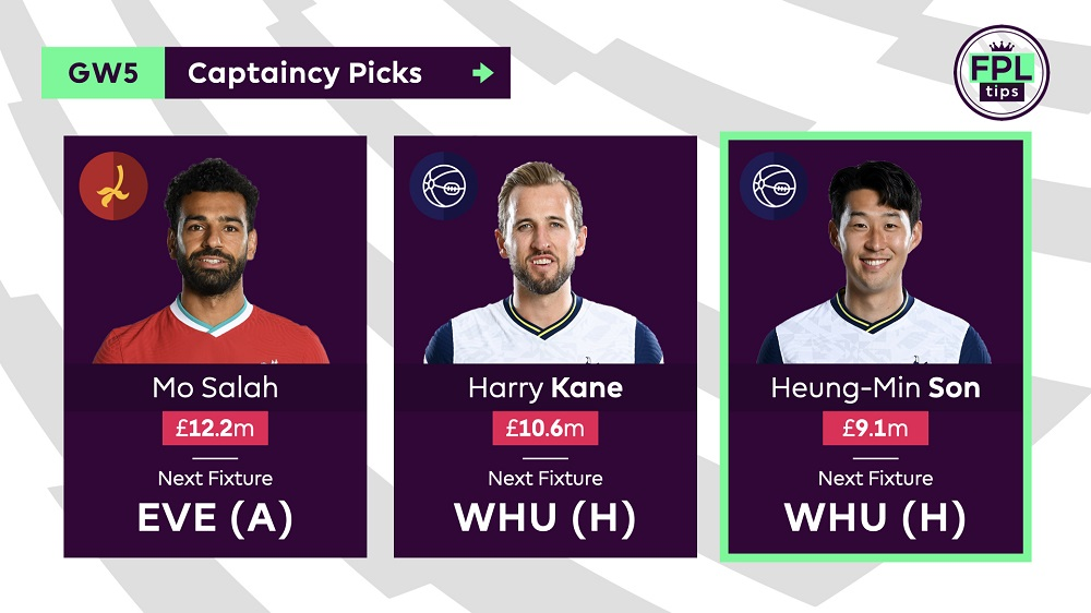 Gameweek 5 FPL Captain Tips - Son