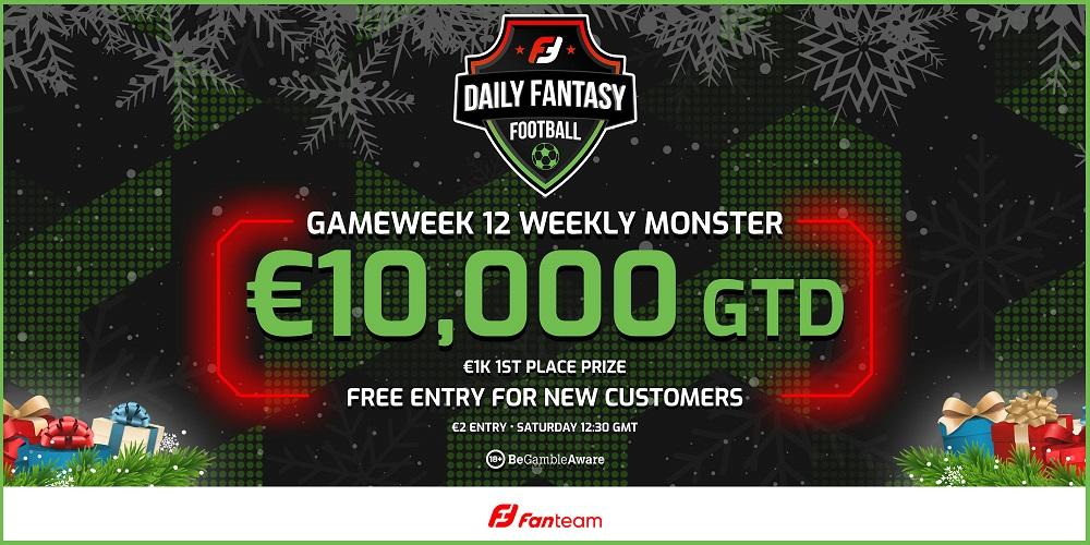 Gameweek 12 Weekly Monster Signup Free