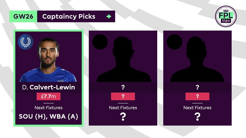 FPLTips - Gameweek 26 Captain Picks - Calvert-Lewin