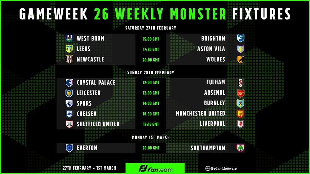 Gameweek 26 Weekly Monster on FanTeam