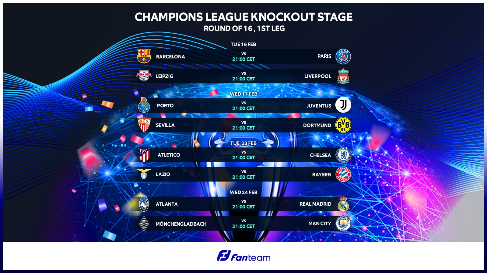 FanTeam Champions League fantasy football - round of 16 fixtures