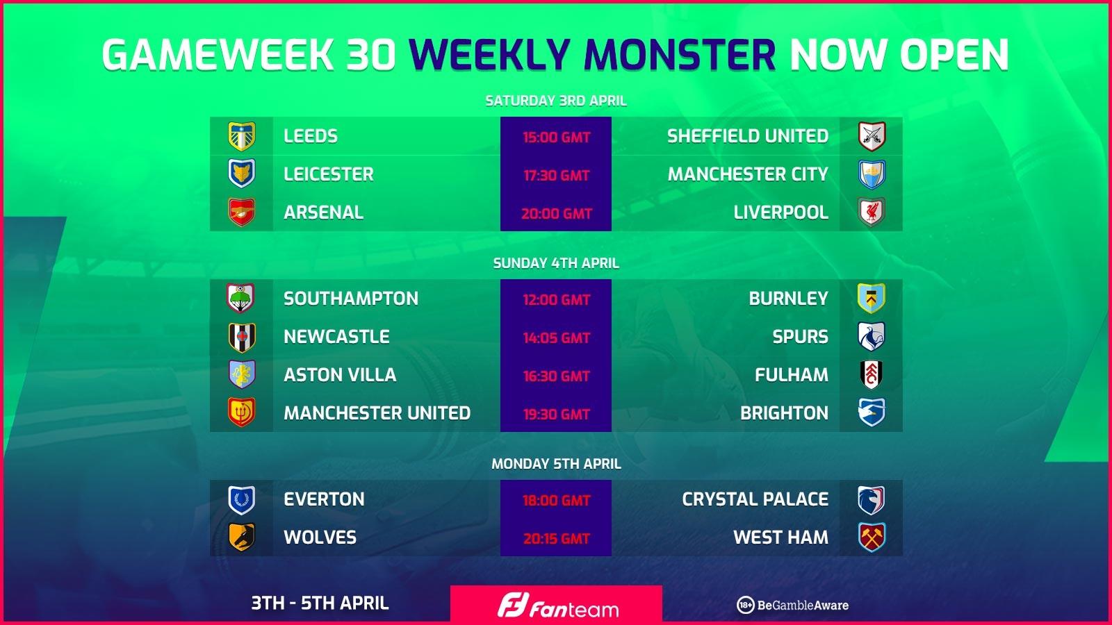 Free entry FanTeam Gameweek 30 weekly monster