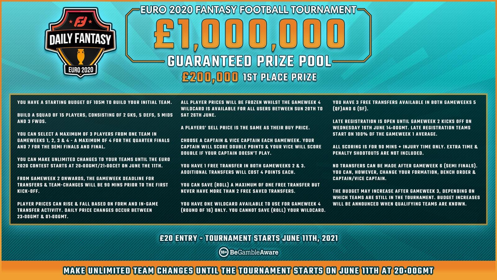 fanteam £1,000,000 euro2020 fantasy football game